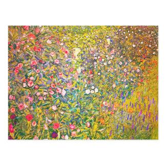 Postal rosada de las flores de Gustavo Klimt