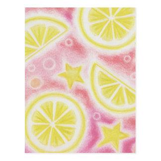 "Postal rosada de los ""limones"" de la limonada"