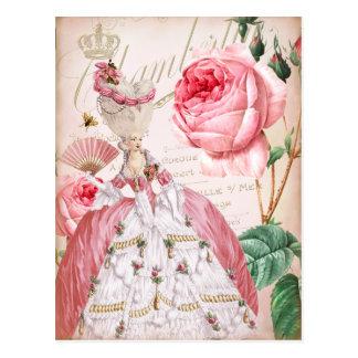 Postal rosada de los rosas del vintage de Marie