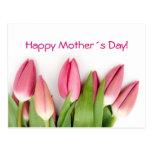 Postal rosada de los tulipanes
