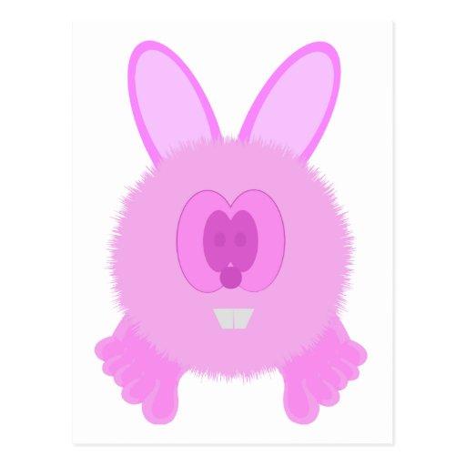 Postal rosada de Pom Pom PAL del conejito