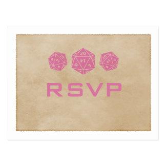 Postal rosada de RSVP del videojugador de los dado