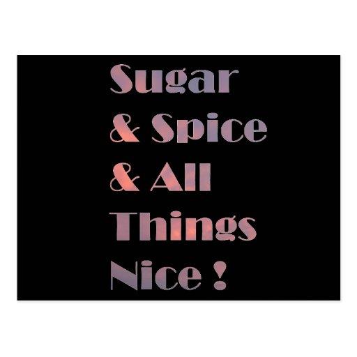 Postal rosada del azúcar y de la especia