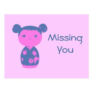Postal rosada del azul de Kokeshi