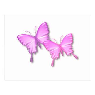Postal rosada del diseño de las mariposas