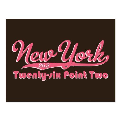 Postal rosada del maratón de Nueva York 26,2