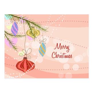 Postal rosada del navidad de los ornamentos del bo