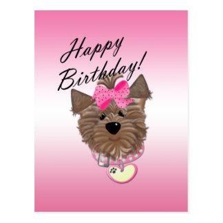Postal rosada del perro del feliz cumpleaños