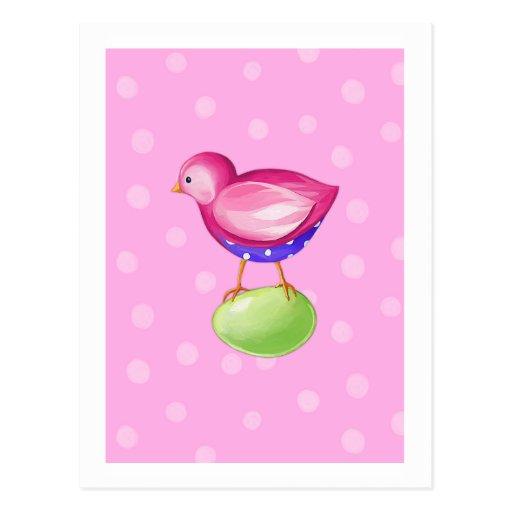 Postal rosada del rosa del pájaro