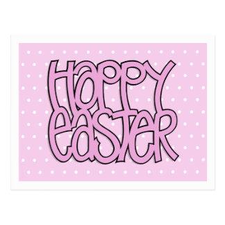 Postal rosada feliz del punto de Pascua
