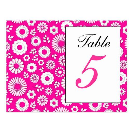 Postal rosada floral del número de la tabla del ve