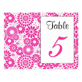 Postal rosada floral del número de la tabla del vi