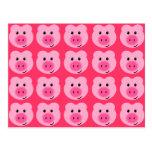 Postal rosada linda del modelo del cerdo