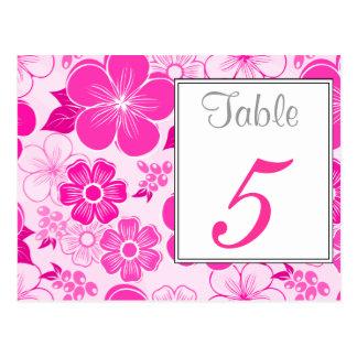 Postal rosada linda del número de la tabla de la f