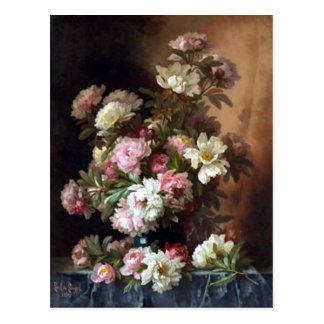 Postal rosada y blanca de la bella arte del Peony