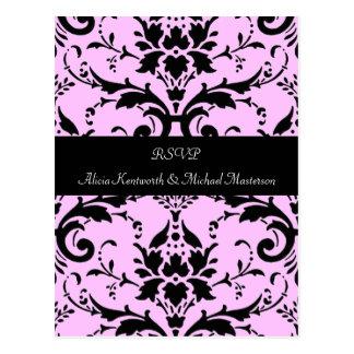 Postal rosada y negra de RSVP del damasco