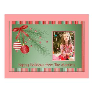 Postal rosada y verde de la foto del navidad