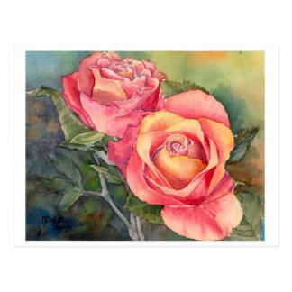 """Postal """"rosas rojos"""" de la bella arte, watercolour"""