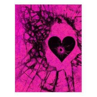 Postal rota rosas fuertes del corazón quebrado