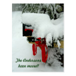 Postal Route New Address Winter Announcement Post Card