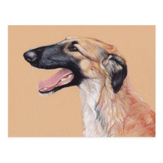 Postal rusa del arte del perro del Wolfhound del B