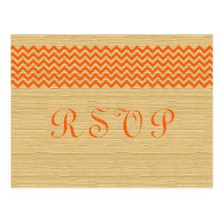 Postal rústica anaranjada de Chevron RSVP