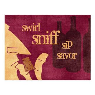 Postal Savoring del vino