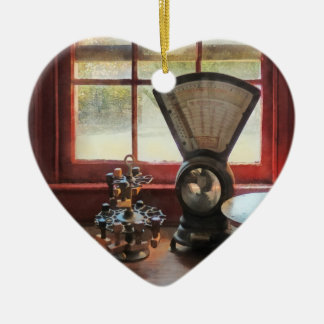 Postal Scale and Rubber Stamps Ceramic Ornament
