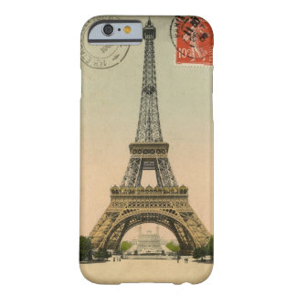 Postal sellada torre Eiffel del vintage Funda Para iPhone 6 Barely There