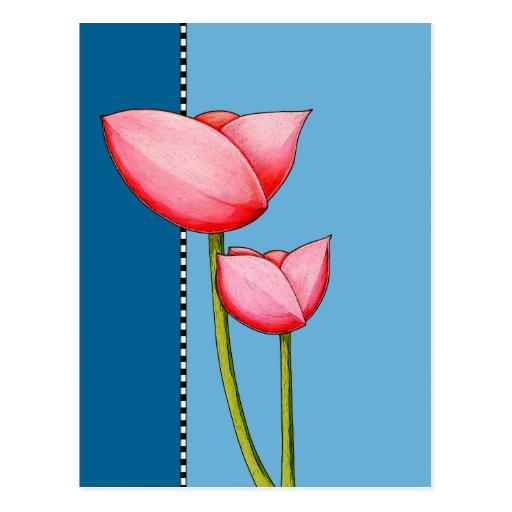 Postal simple del azul de las flores