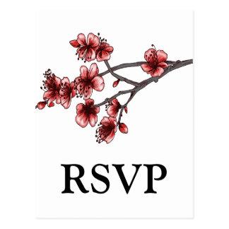 Postal simple roja de RSVP de las flores de cerezo