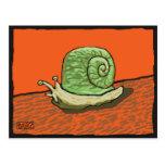 Postal - snail mail - verde en rojo
