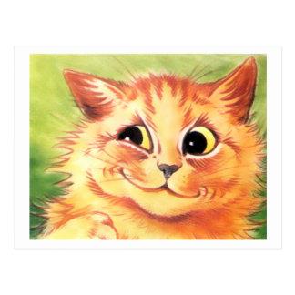 Postal sonriente del gato de Louis Wain del vintag