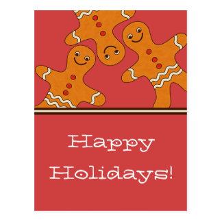 Postal sonriente del navidad de los hombres de pan