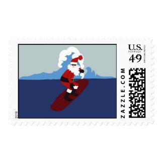 Postal Stamp-Surfing santa!