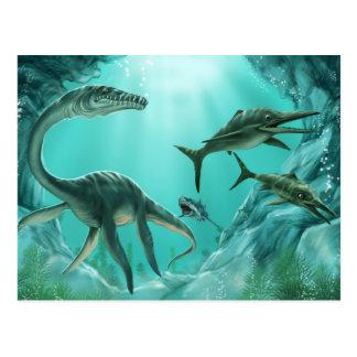 Postal subacuática del dinosaurio