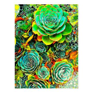Postal suculenta del arte pop del jardín