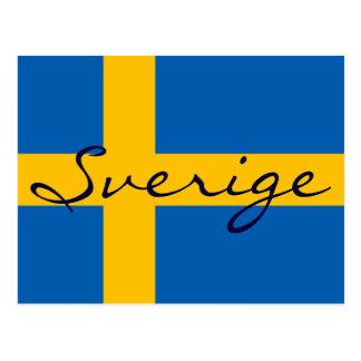Postal sueca de la bandera de Sverige Suecia