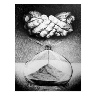 Postal surrealista del dibujo del reloj de arena d