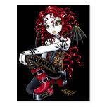 Postal tatuada rojo del Faerie de Terri
