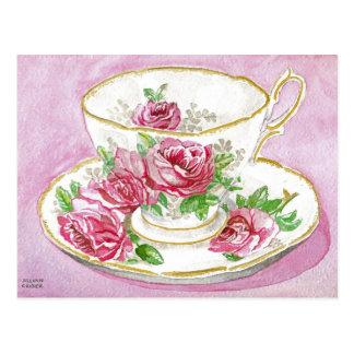 Postal - taza de té color de rosa floral rosada de