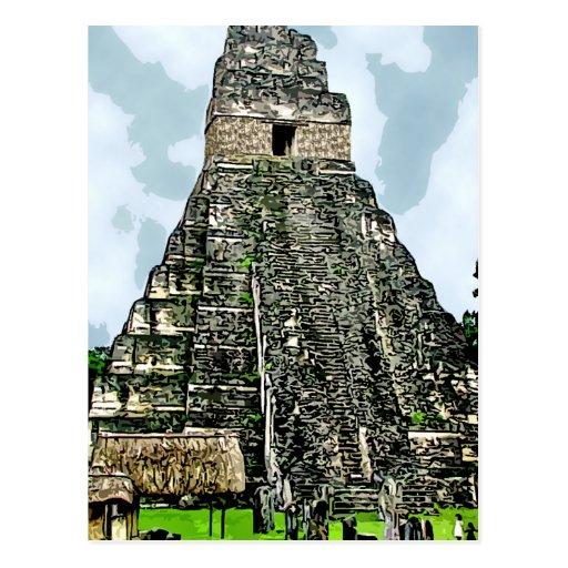 Postal:  Templo maya en Tikal, Guatemala