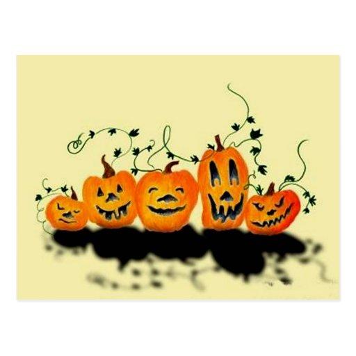 Postal tonta de Halloween de las calabazas
