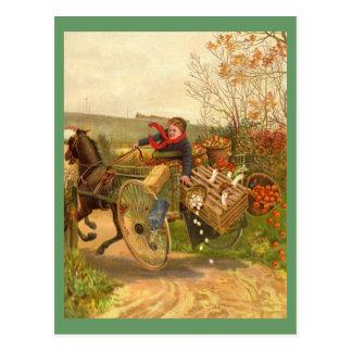 Postal traída por caballo del carro del vintage