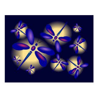postal tridimensional del arte de la libélula