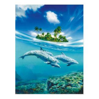 Postal tropical de la fantasía de la isla