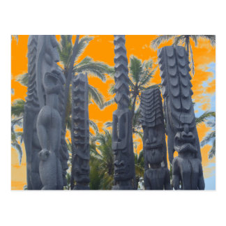 Postal tropical de la puesta del sol de la isla de