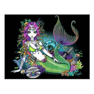 Postal tropical del arte de la sirena del arco iri