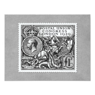 Postal Union Congress 1929 1 Pound Postage Stamp 4.25x5.5 Paper Invitation Card