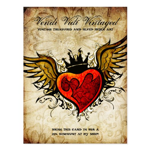 Postal urbana del corazón del tatuaje del vintage